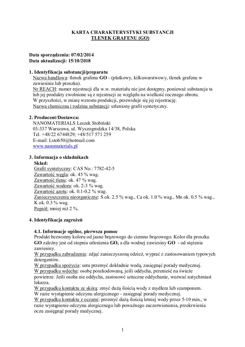 d6f35c9d67da95 Karty charakterystyki – Nanomaterials – Leszek Stobiński